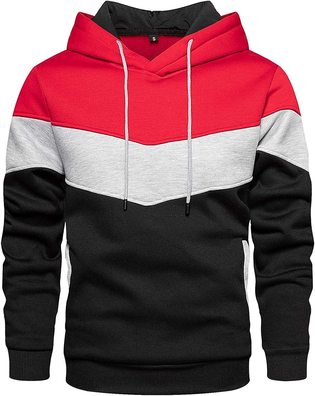 Men's Contrast Color Drawstring Hoodies Casual Fleece Big and Tall Hooded Sweatshirt