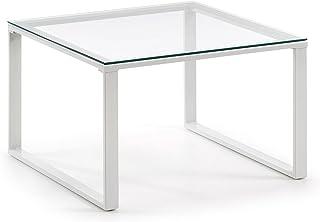 Kave Home - Mesa de Centro Sivan Transparente Cuadrada 60 x 60 cm de Cristal Templado y Patas de Acero en Blanco