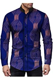 Comaba Mens Classic Buttoned Long-Sleeve Single Breasted Premium Shirts