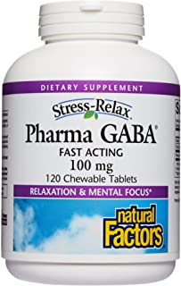 Stress-Relax Chewable Pharma GABA 100 mg by Natural Factors, Non-Drowsy Stress Support for Relaxation and Mental Focus, Tr...