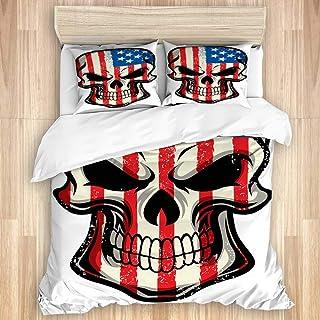 Juego de funda nórdica de 3 piezas, bandera de Estados Unidos pintada sobre un fondo de calavera, juegos de fundas de edredón de microfibra de lujo para dormitorio, colcha con cremallera con 2 fundas