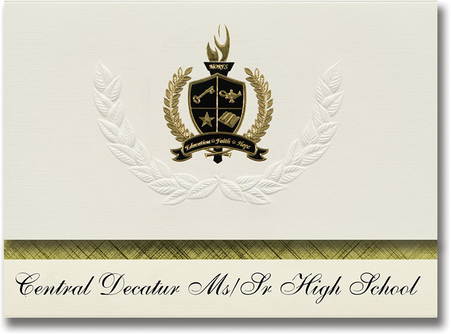 Signature Ankündigungen Central Decatur MS SR High School (Leon, IA) Graduation Ankündigungen, Presidential Stil, Elite Paket 25 Stück mit Gold & Schwarz Metallic Folie Dichtung B078WFWXHT    | Maßstab ist der Grundstein, Qualität ist Säule