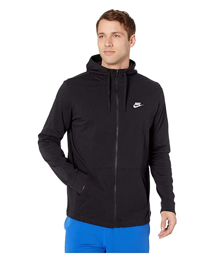 Nike Big Tall NSW Club Jersey Full Zip Hoodie (Black/White) Men