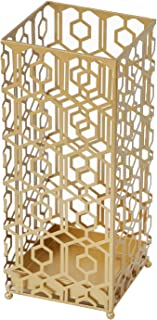 ELEGAN Metal Umbrella Stand Gold Square Umbrella Rack for Canes Walking Sticks Umbrellas Home Office Decor with Drip Tray