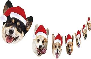 Corgi Christmas Garland, Dog Face Christmas Party Hanging Decorations, Xmas Gift for Corgi Lover