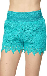 Bellarize Women's Crochet Lace Shorts with Inner Lining