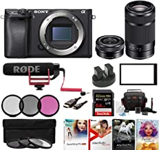 Sony Alpha a6500 Digital Camera w/ SELP1650 16-50mm & SEL55210B 55-210 Zoom Lenses & Rode Video Mic GO Bundle