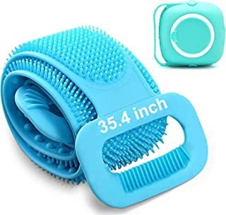"""Back Scrubber for Shower Silicone Body Scrubber body Brush with Soap Dispenser 2021 Updated Lengthen 35.4"""" Shower Scrubber..."""
