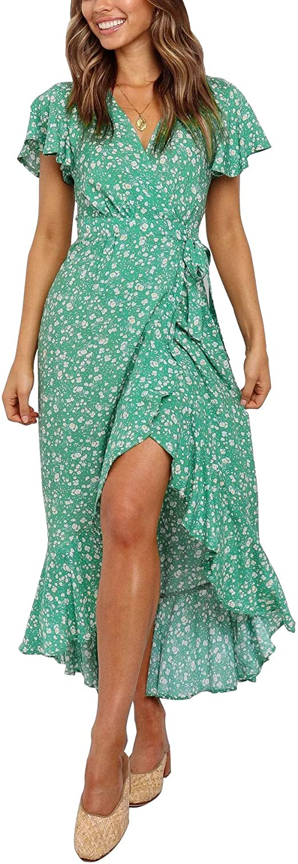ZESICA Women's Summer Bohemian Floral Printed Wrap V Neck Beach Party Flowy Ruffle Midi Dress