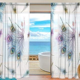 rodde Aquarelle Plume De Paon Sheer Fenêtre Rideau Panneau Drapé 55x78 Pouce 2 Pièce pour Salon Chambre Chambre des Enfants