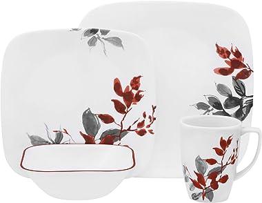 Corelle Boutique Square Kyoto Leaves 16-Piece Dinnerware Set, Service for 4