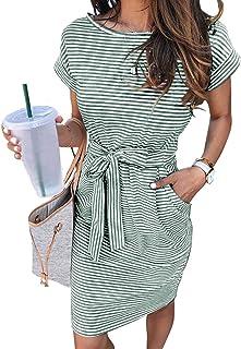 Women's Summer Striped Short Sleeve T Shirt Dress Casual...