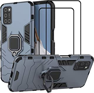 EasyLifeGo for OPPO A92 / OPPO A72 / OPPO A52 Kickstand Case with Tempered Glass Screen Protector [2 pieces], Hybrid Heavy...