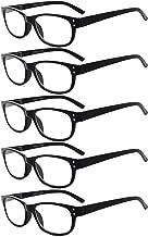 Eyekepper 5-Pack Spring Hinges Vintage Reading Glasses Readers Black +2.00