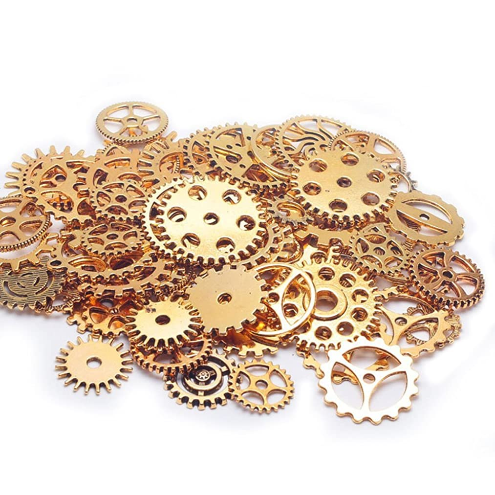 200 Gram Assorted Vintage Alloy Mechanical Steampunk Cogs & Gears Jewelry Making Charms Cog Watch Wheel (Gold)