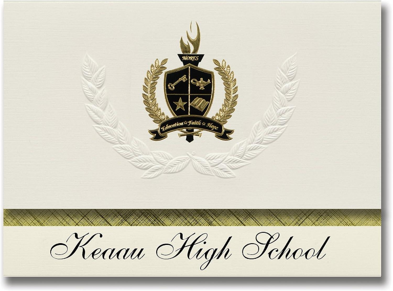 Signature Ankündigungen keaau High School (keaau, Hi) Graduation Ankündigungen, Presidential Stil, Elite Paket 25 Stück mit Gold & Schwarz Metallic Folie Dichtung B078TTWTSG   | Spaß