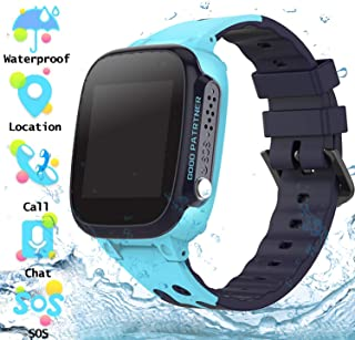 Waterproof Kids Smartwatch Phone - Girls Boys LBS Tracker Smart Watch with Voice Chat SOS Camera Games Alarm Clock Outdoor Activities Wrist Watches Brithday Toys Student Back to school Gifts (Blue)