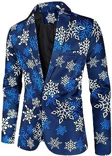 Men's Printed Christmas Jacket Slim Fit Santa Costume Blazer Prom Party Tuxedos Jacket Spring Winter Coat