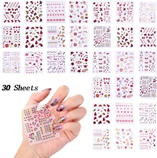 3D Nail Stickers for Women Nail Decals Self Adhesive Design Nail Tattoos Gold Red Rose Butterfly Nail Art Stickers Fingernail Decoration Nail Art Supplies Accessories (30 Sheets)