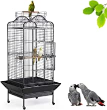 Yaheetech Wrought Iron Rolling Extra Large Open Play Top Bird Cage for Mini Macaw Goffin's Cockatoo Cockatiels African Grey Small Quaker Amazon Parrots Green Cheek Conures Caique Bird Cage with Stand