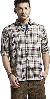 BUFFALO by FBB Men's Checkered Slim Fit Shirt (Brown, Medium)