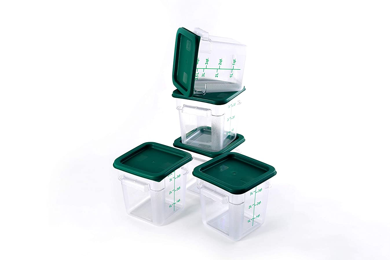 Hakka 4 Qt Commercial Grade Square Food Storage Containers with Lids,Polycarbonate,Clear - Case of 5