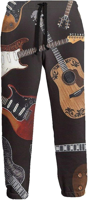 Men's Jogger Sweatpants Electric Guitars 3D Loose Joggers Pants with Drawstring Long Pants