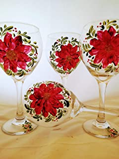 Hand painted poinsettia/glitter goblets. set of 4 20 ounce white wine gobblets. usa