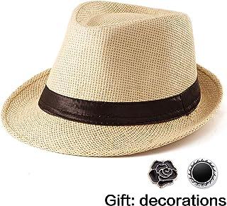 ca564c8b3a7f1d Fedora Hat Mens Fedora Hats for Men Trilby Hat Straw Sun Hat Panama Hat  Reducer
