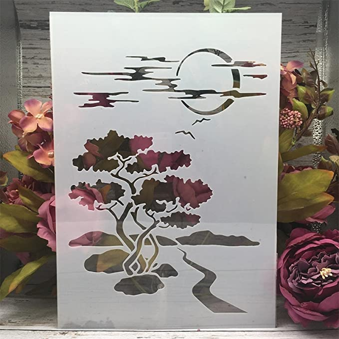 Amazon.com : Stencils for Painting ,Painting Stencils ,A4 29cm Moon Road Tree Night DIY Layering Stencils Wall Painting Scrapbook Coloring Embossing Album Decorative Template : Arts, Crafts & Sewing