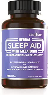 Zentastic Herbal Sleep Aid – Non Habit Forming Sleeping Pills (1013mg) - Anxiety and Insomnia Relief – Melatonin, Valerian, Suntheanine, Magnesium, More – Drug Free & Made in USA, 60 Capsules