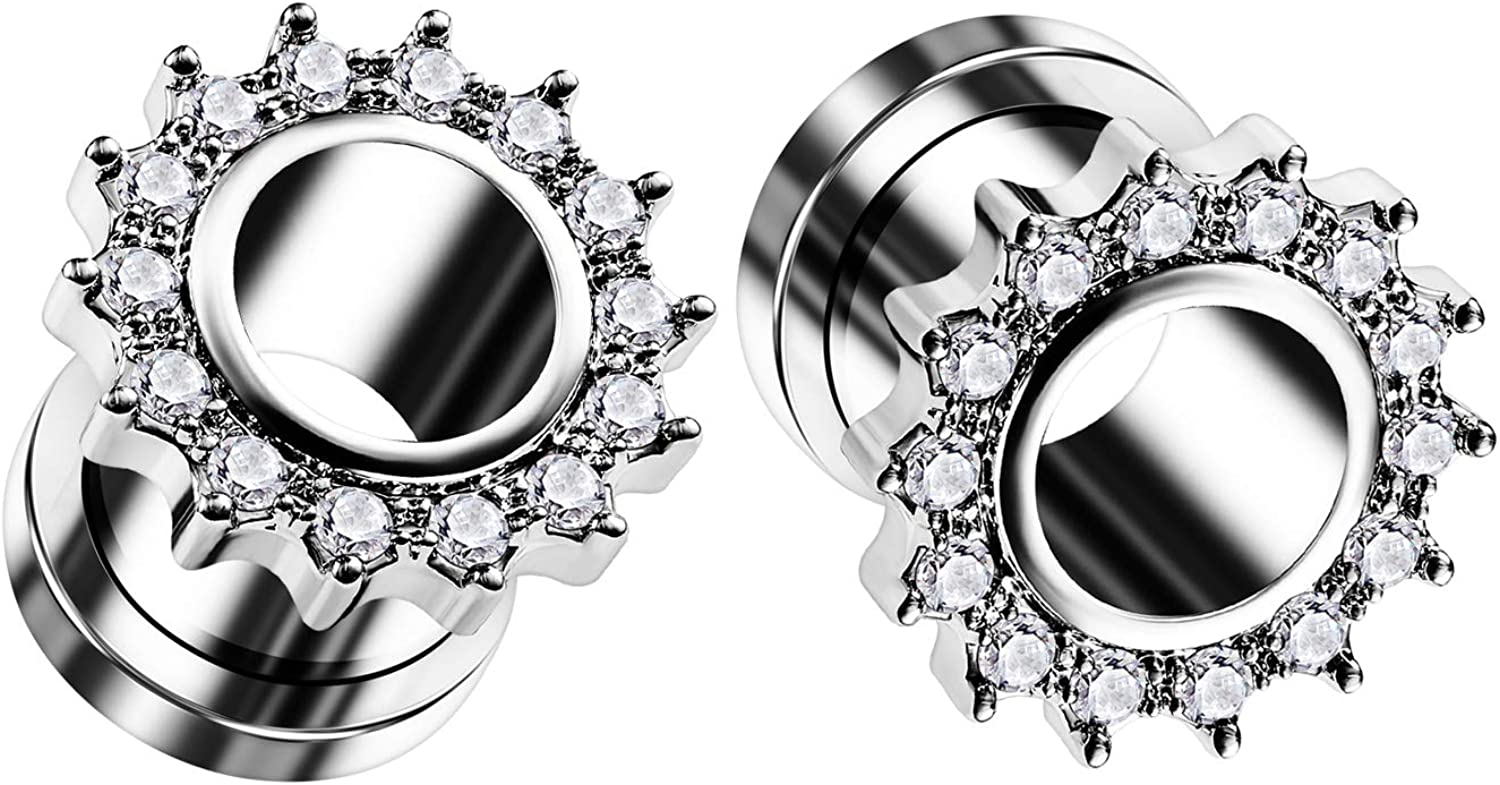 BIG GAUGES Pair Some reservation of 316L Surgical Steel Tunn Flesh Max 88% OFF External Screw