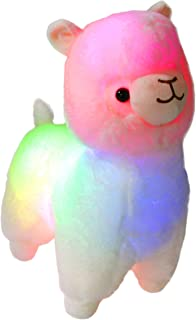 Bstaofy Glow White Llama LED Stuffed Animals Blushing Alpaca Soft Plush Toy Light Up Gift for Kids on Christmas Birthday Halloween Festival Occasions, 14 inch