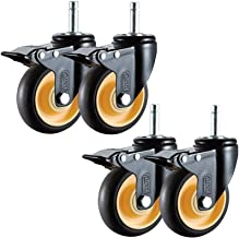 4 stks Meubelwielen 3 / 4Inch Castor Wheels Heavy Duty Screw Swivel Rubber Rem Wiel Meubels Desktop Trolley (Color : E, Si...