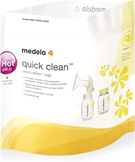 Medela Quick Clean Microwave Bags | 5 Pack, Reusable Upto 10 Times Each | Kills 99.9% of Bacteria in 3 Minutes