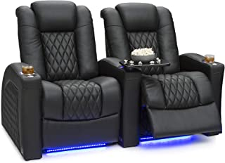 Seatcraft Stanza - Home Theater Seating - Power Recliners - Leather - Adjustable Powered Headrest and Lumbar Support - Cup Holders - USB Charging - Ambient Lighting- SoundShaker - Row of 2 - Black