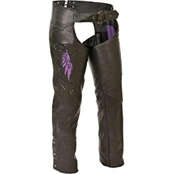 Black//Purple, 4X-Large Milwaukee Womens Leather Chaps