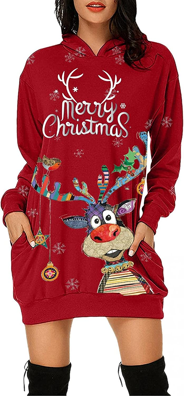 Mingleigo Christmas Hoodie Dresses for Women,Women Cute Reindeer Print Long Sleeve Tunic Sweatshirt Dress Tops with Pocket