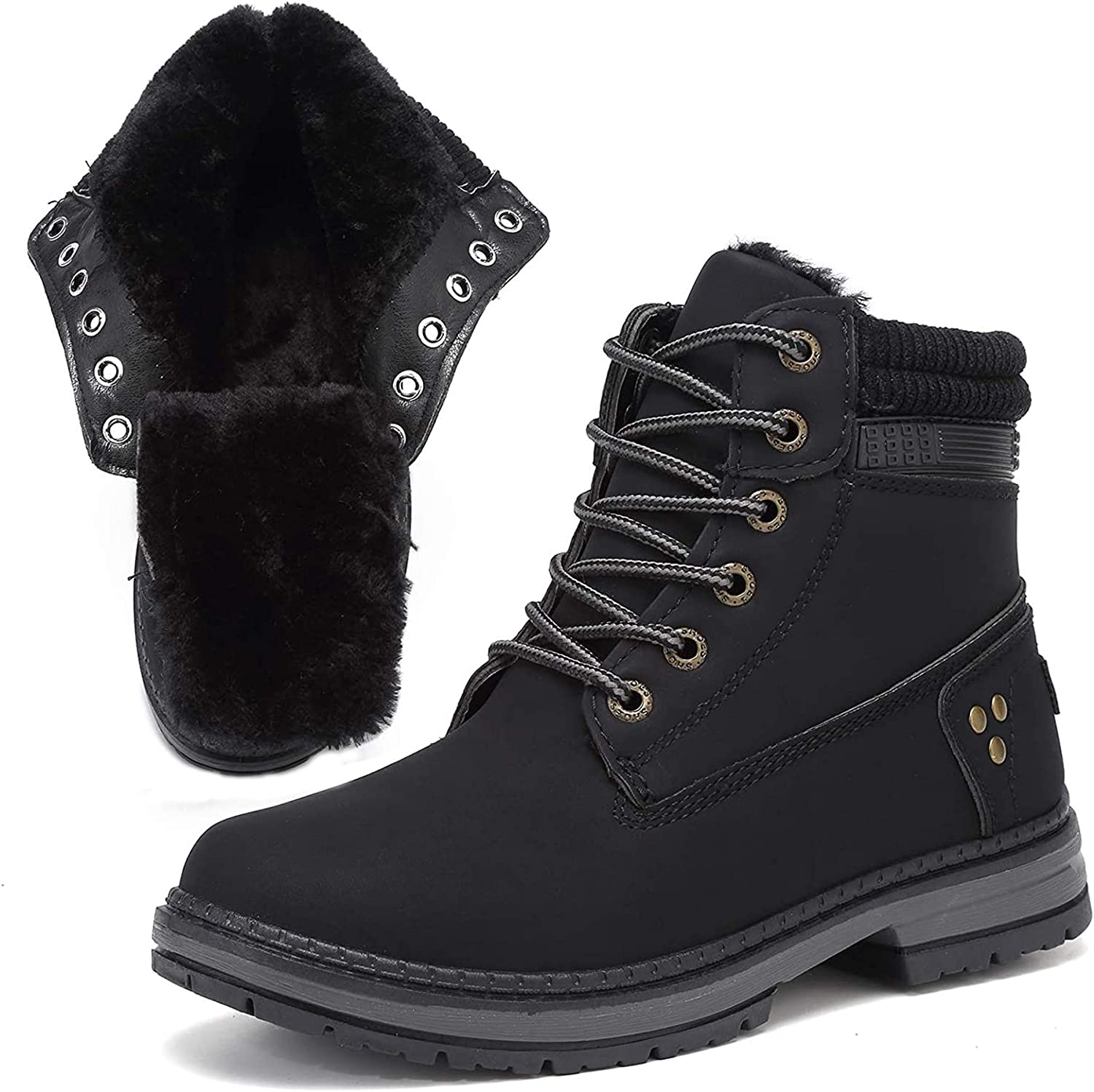 Xiakolaka Women Fur Lined Combat Boots Lace up Ankle Boots Winte