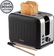 Grille Pain Large Fente 3 in 1 - Noir Mat en Inox, Toaster Rétro - Pince en Bambou Gratuite - 7 Niveaux de Brunissage - 850W - Chauffe Petit Pain et Ramasse Miette