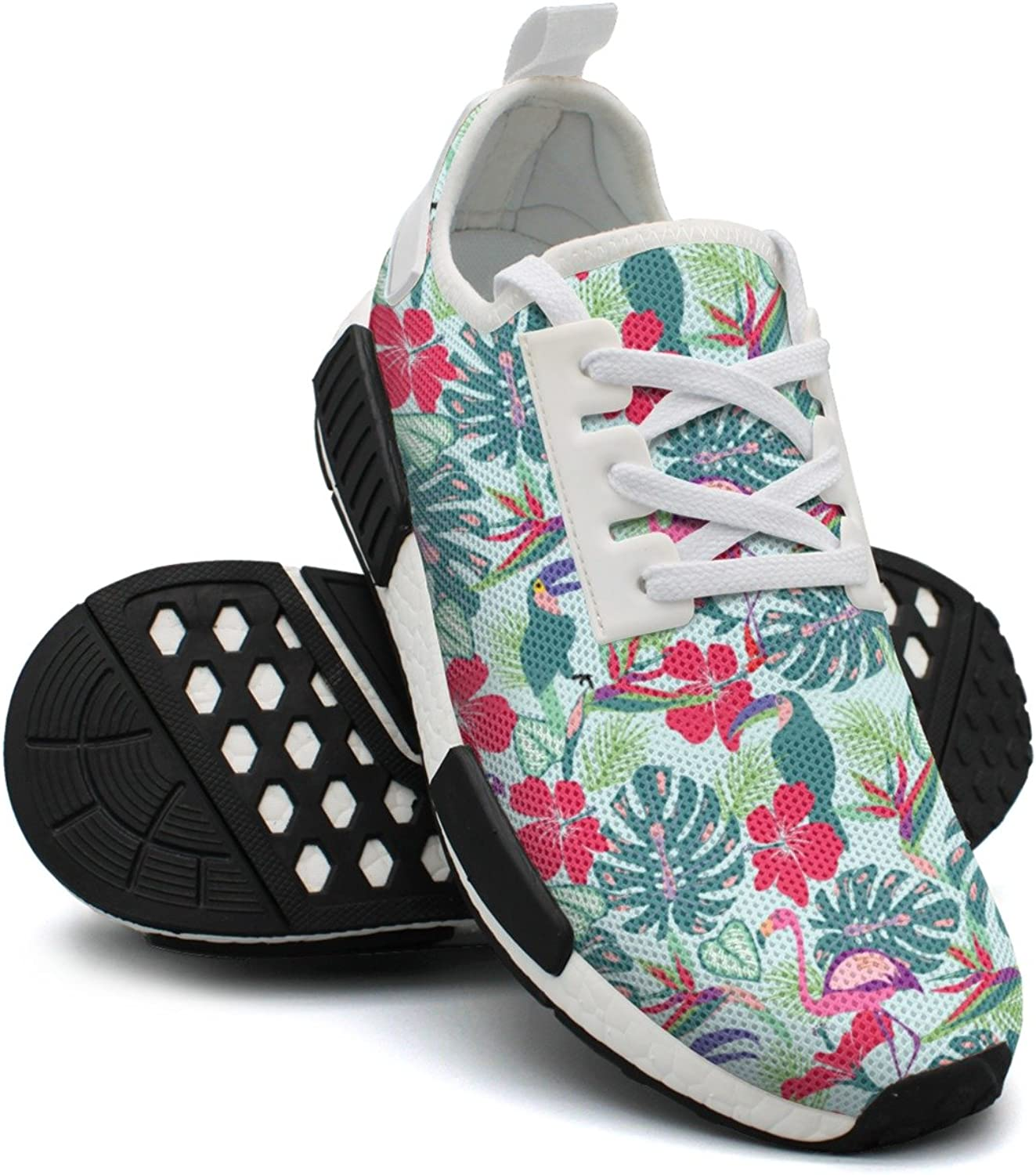 Ktyyuwwww Women's colorful Cool Tropical Plants and Flowers with Toucan Parred Unique Running shoes