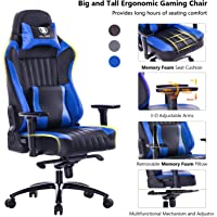 Killabee 8212 Big and Tall 400lb Memory Foam Gaming Chair (Blue)