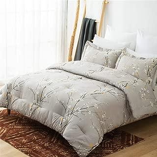 Bedsure Comforter Set Full/Queen Size - Down Alternative Comforter, Microfiber Duvet Sets - 3-Piece (1 Comforter + 2 Pillow Shams), Plum Blossom Pattern, Grey