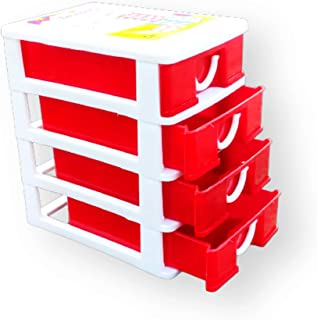 BEST Plastic Four Layer Drawer Storage Cabinet Box (Multi Color) for Home & Office