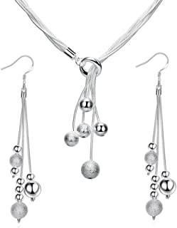 ISAACSONG.DESIGN 925 Sterling Silver Beaded Tassel Y-Shape Necklace and Dangle Drop Earring Bridal Wedding Jewelry Set for Women