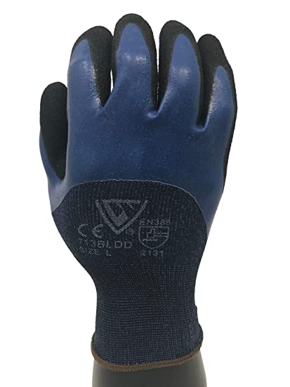 West Chester 713bldd 13 Gauge Polyester Shell 2x Large Safety Gloves With 3 4 Blue Flat And Sandy Foam Coating Knit Wrist Amazon Com Industrial Scientific