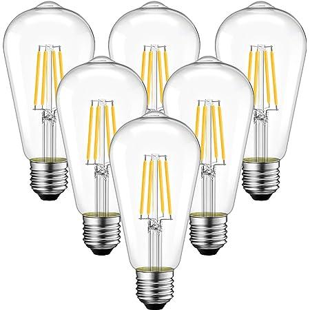 6 Unidades 6.5W Bombillas Vintage Edison LED E27 (Casquillo Gordo), 806 Lúmenes, 2700K Blanco Cálido, ST64 Bombilla Retro, Luz Cálida Decorativa- ANWIO.