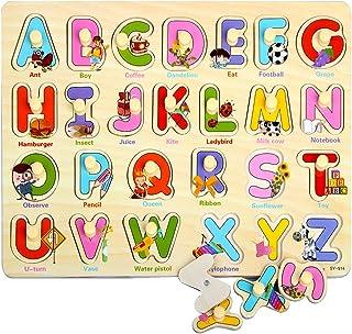 ZoneYan Puzzles en Bois, Puzzle à Gros Boutons, Les Puzzles en Bois Comprend 3 Types de Puzzles Chevillés Coloré Peg Puzzl...