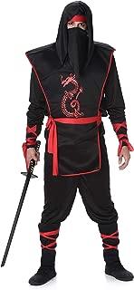Black Red Ninja Costume Set - Halloween Mens Dragon Assassin Warrior