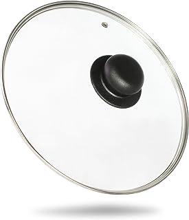 Kerafactum®–Cacerola Cacerola Tapa Tapa para Olla (Tapa de Cristal, con asidero de plástico, aro de Acero Inoxidable y Orificio de ventilación. En Diferentes Tamaños, 14